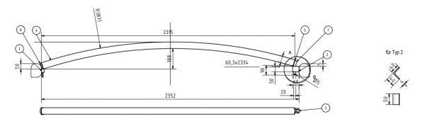 Dachspriegel Typ 2 einseitig drehbar für Bahncontainer Art.Nr. 24596