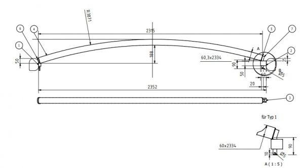 Dachspriegel Typ 1 beidseitig drehbar für Bahncontainer Art.Nr. 24595