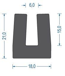 U-Profil aus Moosgummi EPDM 21x18x6mm Art.Nr. 11932