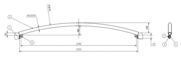 Dachspriegel Typ 3 geschraubt für Bahncontainer Art.Nr. 24597