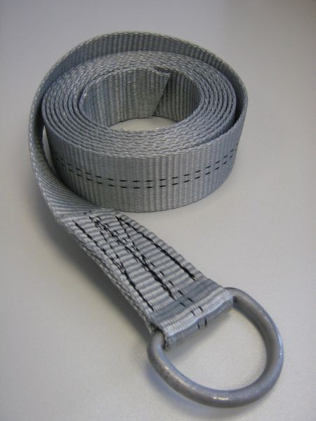 Gurtband 35 x 2500 mm Farbe grau, eine Seite mit Halbrundring, eine Seite lose Art.Nr. 25359