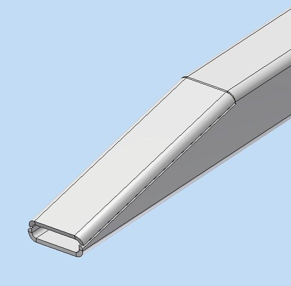 Mittellatte Alu-Vierkantrohr 60/4 L=8400 mm angeschrägt für Bahncontainer Art.Nr. 24623